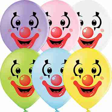 Clown Faces Pastel Apple Green, Pastel Yellow, Pastel White, Pastel Sky Blue, Pastel Pink and Pastel Lavender Assortment Latex Round 12in/30cm