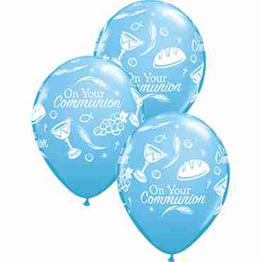 communion symbols standard pale blue latex round 11in/27.5cm