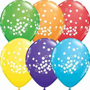Confetti Dots Bright Rainbow Assortment Latex Round 11in/27.5cm