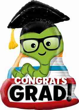 Congrats Grad Bookworm Foil Shape 37in/94cm