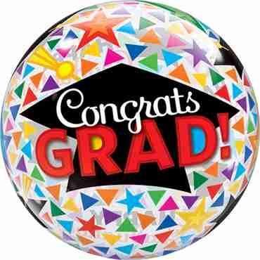 Congrats Grad Caps and Triangles Single Bubble 22in/50cm