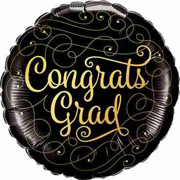 Congrats Grad Gold Doodles Foil Round 18in/45cm