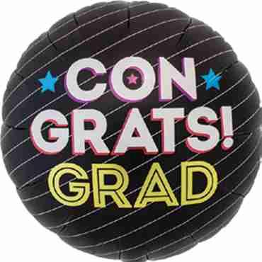 Congrats Grad Pinstripe Foil Round 18in/45cm