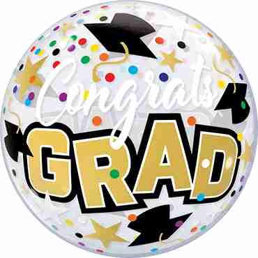 Congrats Grad Stars & Dots Single Bubble 22in/55cm