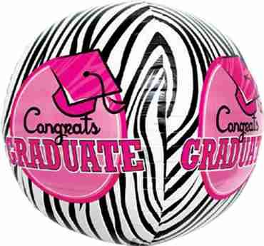 Congrats Graduate Zebra Sphere 17in/43cm