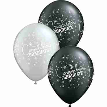 Congratualtions Graduate Pearl Onyx Black and Metallic Silver Assortment Latex Round 11in/27.5cm