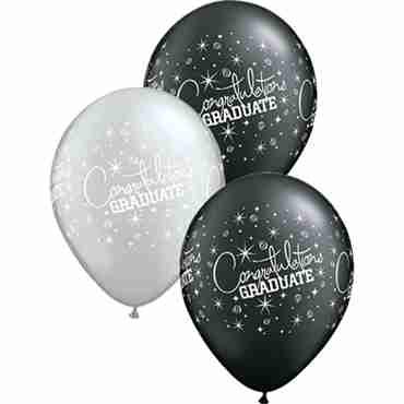 Congratualtions Graduate Pearl Onyx Black and Metallic Silver Assortment Latex Round 11in/27.5cm