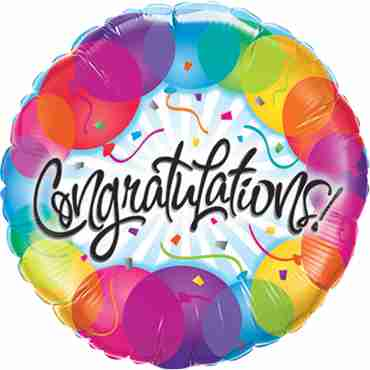 Congratulations Balloons Foil Round 9in/22.5cm