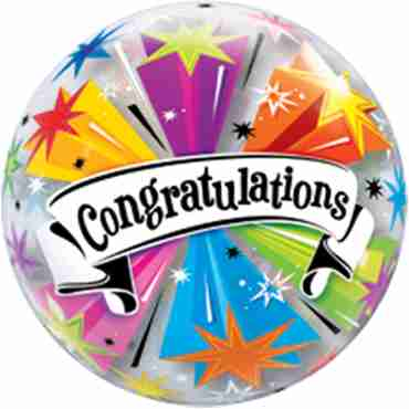 Congratulations Banner Blast Single Bubble 22in/55cm