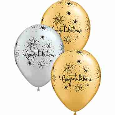 Congratulations Elegant Metallic Silver and Metallic Gold Assortment Latex Round 11in/27.5cm