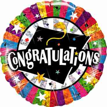 Congratulations Grad Cap Holographic Foil Round 18in/45cm