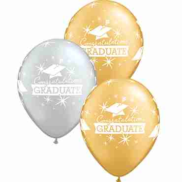 Congratulations Graduate Caps Metallic Silver and Metallic Gold Assortment Latex Round 11in/27.5cm