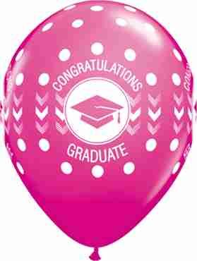 Congratulations Graduate Dots Fashion Wild Berry Latex Round 11in/27.5cm