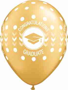 Congratulations Graduate Dots Gold Berry Latex Round 11in/27.5cm
