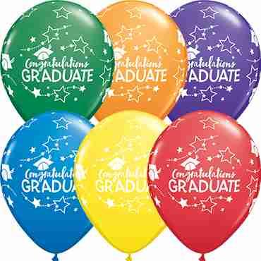 Congratulations Graduate Stars Carnival Assortment Latex Round 11in/27.5cm