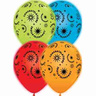 Congratulations Standard Red, Standard Orange, Standard Pale Blue and Standard Green Assortment Q-Lite Latex Round 11in/27.5cm