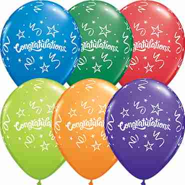 Congratulations Streamers Carnival Assortment Latex Round 11in/27.5cm