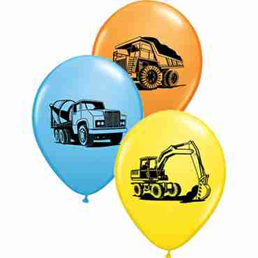 Construction Trucks Assortment Standard Orange, Standard Pale Blue and Yelow Assortment Latex Round 11in/27.5cm