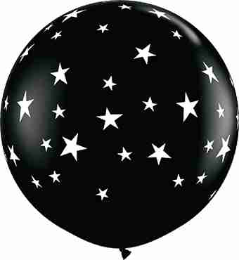 Contempo Stars Fashion Onyx Black Latex Round 36in/90cm