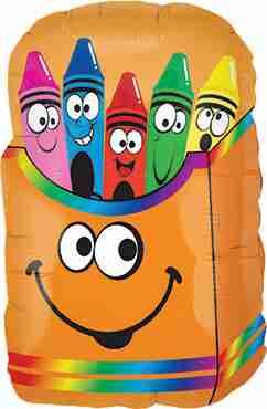 Crayon Smiley Box Foil Shape 28in/71cm