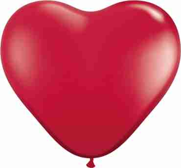 Crystal Ruby Red (Transparent) Latex Heart 6in/15cm