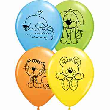 cuddly pets standard yellow, standard orange, standard pale blue and fashion lime green assortment latex round 11in/27.5cm