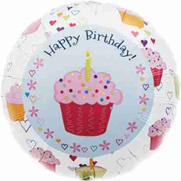 cupcake hearts birthday foil round 18in/45cm