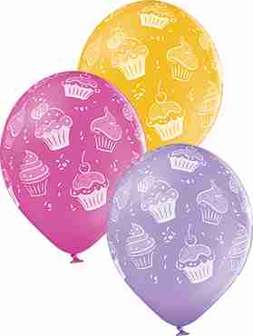 Cupcakes Pastel Ocher, Pastel Lavender and Pastel Rose Assortment Latex Round 12in/30cm