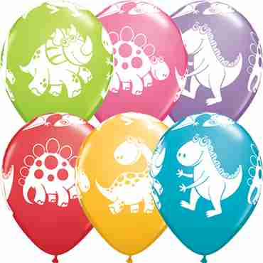 Cute and Cuddly Dinosaurs Festive Assortment Latex Round 11in/27.5cm