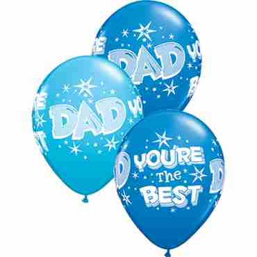 Dad You're The Best Starbursts Standard Dark Blue and Fashion Robins Egg Blue Assortment Latex Round 11in/27.5cm