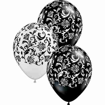 Damask Print Pearl White and Pearl Onyx Black Assortment Latex Round 11in/27.5cm