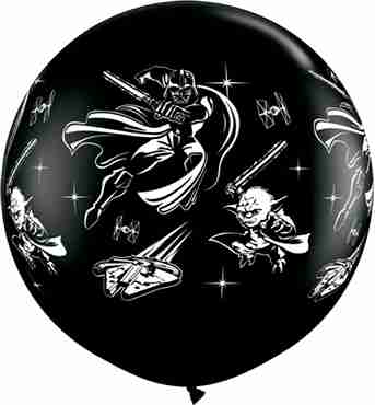Darth Vader and Yoda Fashion Onyx Black Latex Round 36in/90cm