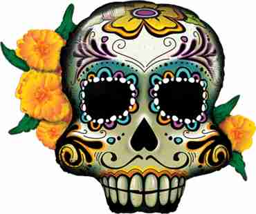 Day Of The Dead Skull Foil Shape 38in/97cm