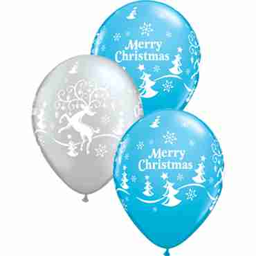 Decorated Reindeer Fashion Robins Egg Blue and Metallic Silver Assortment Latex Round 11in/27.5cm