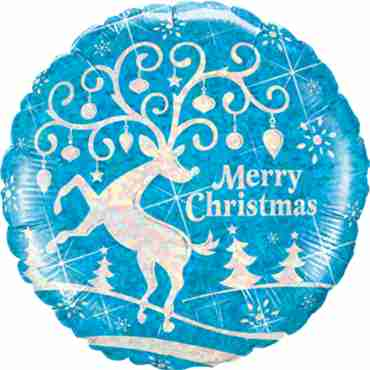 decorated reindeer holographic foil round 18in/45cm