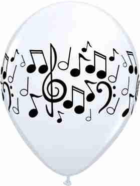 Decorator Music Notes Standard White Latex Round 11in/27.5cm