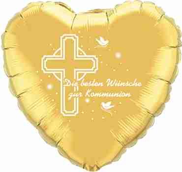 die besten wünsche zur kommunion gold w/white ink foil heart 18in/45cm