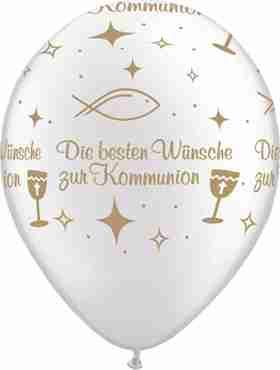Die besten Wünsche zur Kommunion Pearl White w/Gold Ink Latex Round 11in/27.5cm