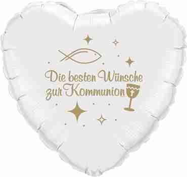 die besten wünsche zur kommunion white w/gold ink foil heart 18in/45cm