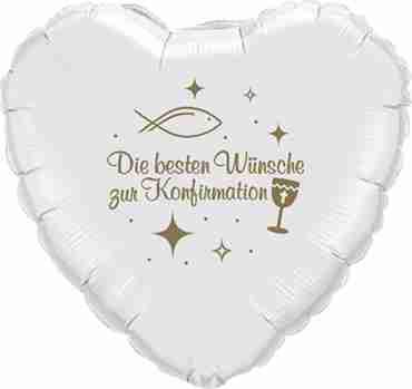 die besten wünsche zur konfirmation metallic white w/gold ink foil heart 18in/45cm