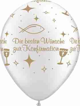 Die besten Wünsche zur Konfirmation Pearl White w/Gold Ink Latex Round 11in/27.5cm