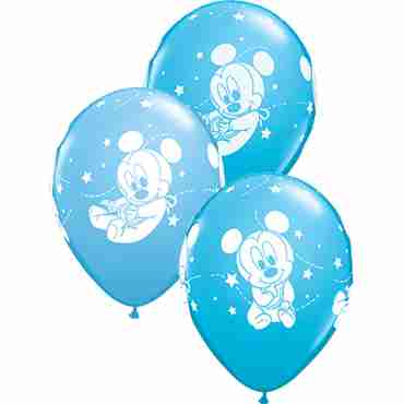 Disney Baby Mickey Stars Standard Pale Blue and Fashion Robins Egg Blue Assortment Latex Round 11in/27.5cm