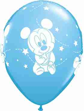 disney baby mickey stars standard pale blue latex round 11in/27.5cm