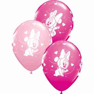 disney baby minnie stars standard pink and fashion wild berry assortment latex round 11in/27.5cm