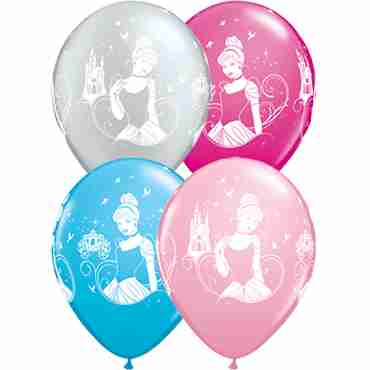 disney cinderella fashion wild berry, standard pink, fashion robins egg blue and metallic silver assortment latex round 11in/27.5cm