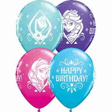 Disney Frozen Birthday Fashion Wild Berry, Fashion Caribbean Blue, Fashion Purple Violet and Fashion Robins Egg Blue Assortment Latex Round 11in/27.5cm