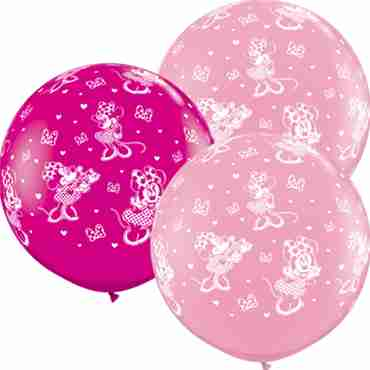 disney minnie mouse standard pink and fashion wild berry assortment latex round 36in/90cm