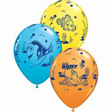 Disney Pixar Dory and Friends Standard Yellow, Standard Orange and Fashion Robins Egg Blue Assortment Latex Round 11in/27.5cm