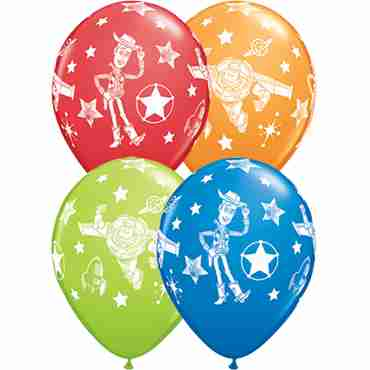 disney pixar toy story stars standard dark blue, standard red, standard orange and fashion lime green assortment latex round 11in/27.5cm