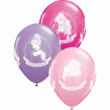 Disney Princess Birthday Standard Pink, Fashion Spring Lilac and Fashion Wild Berry Assortment Latex Round 11in/27.5cm
